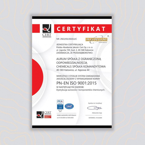 Aurum Chemicals obtained the ISO9001: 2015 certificate!